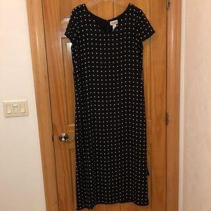 Long black polka dot dress with back tie